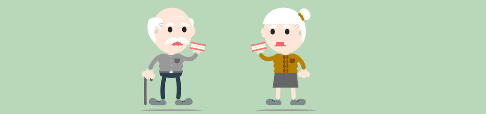 Cartoon of 2 elderly holding dentures